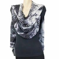 Black white shibori Silk Shawl