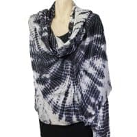 Black White Shibori Silk Shaw