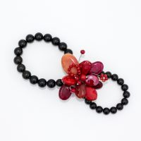Black and Red Beaded Scarf Ring