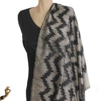 Black and Silver Mudmee Silk Scarf Shawl