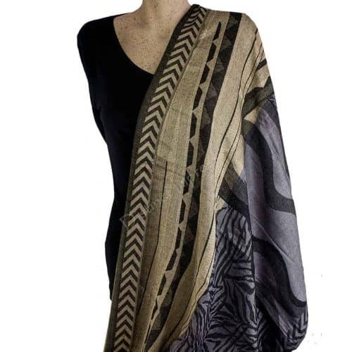 Black and Cream Geometric Pashmina