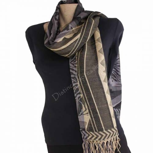 Black and Cream Geometric Pashmina Scarf Shawl