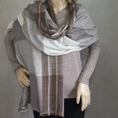 Unisex Brown Cashmere Wool Oversized Scarf