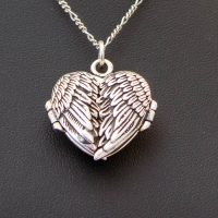 Angel Wings Heart Locket Sterling Silver