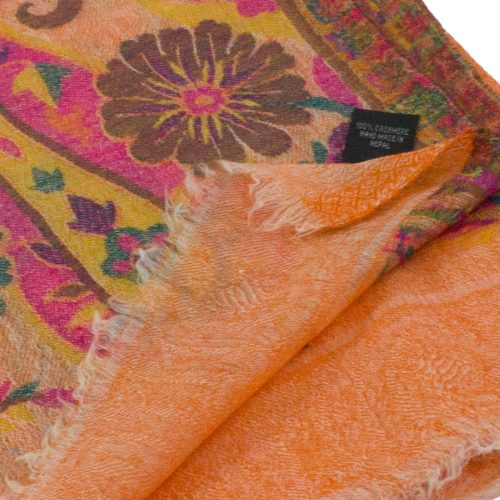 Orange 100% Cashmere Floral Pashmina