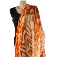 Orange shibori silk shawl