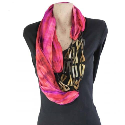 Buffalo horn Pink Silk scarf necklace
