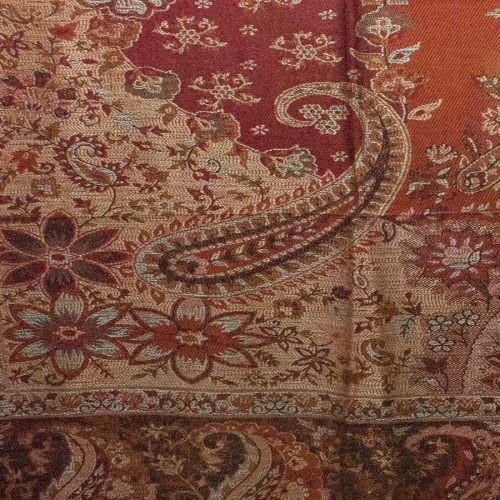 Red Floral Paisley Pashmina Shawl Stole