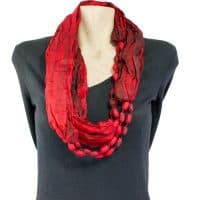 Red Silk Infinity Scarf