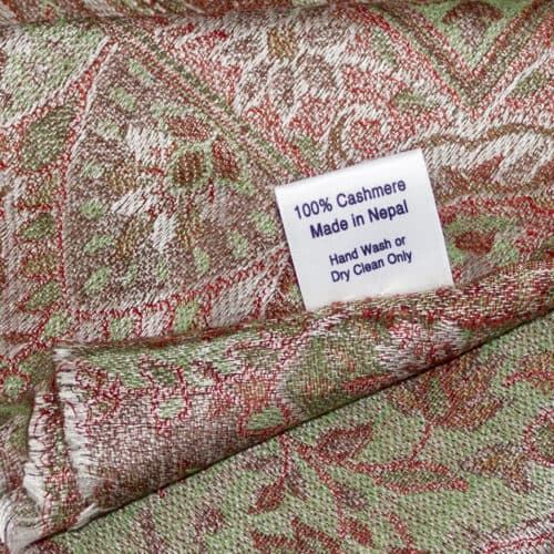 Brown Green Paisley Cashmere Shawl