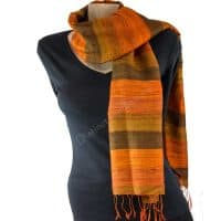 Dark Orange Genuine Thai Raw Silk Scarf