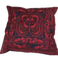 Red Hmong Embroidered Birds Cushion Cover