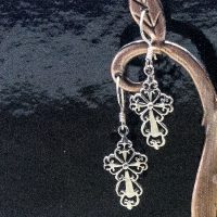 sterling silver figilee cross earrings